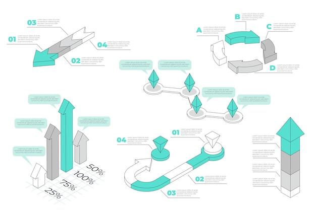 Изометрические наброски инфографики элемент коллекции