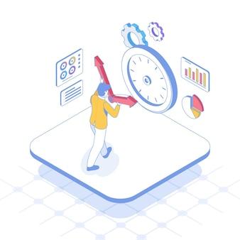 Концепция управления временем изометрические наброски