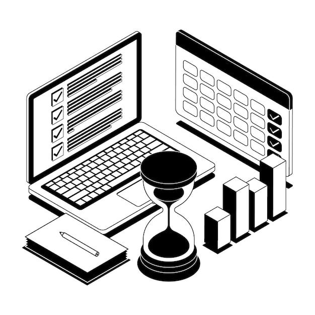 Illustrazione di gestione del tempo del profilo isometrico