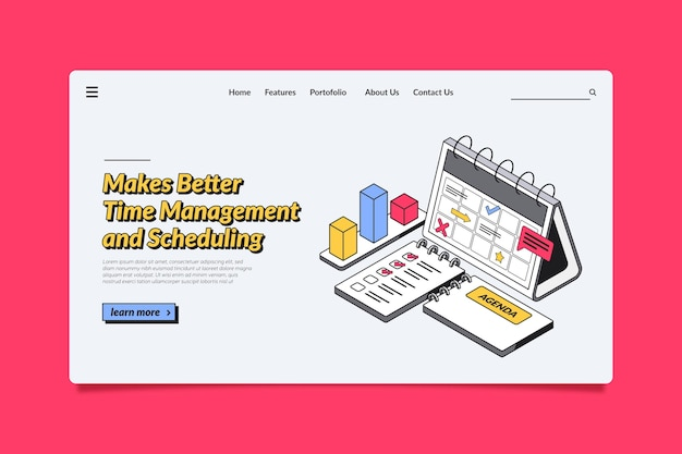 Isometric outline time management landing page