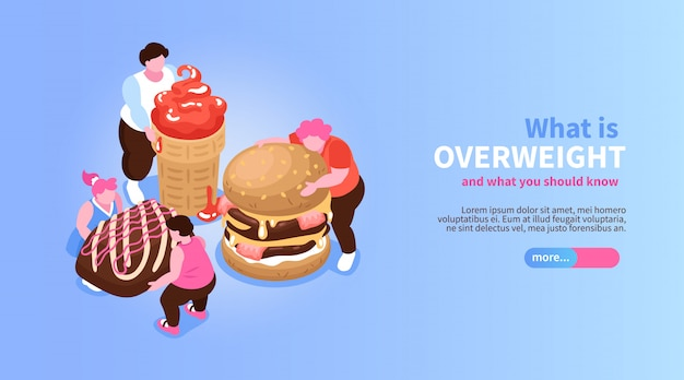 Isometric overeating gluttony banner with slider button editable text and characters of fat people with sweets  illustration