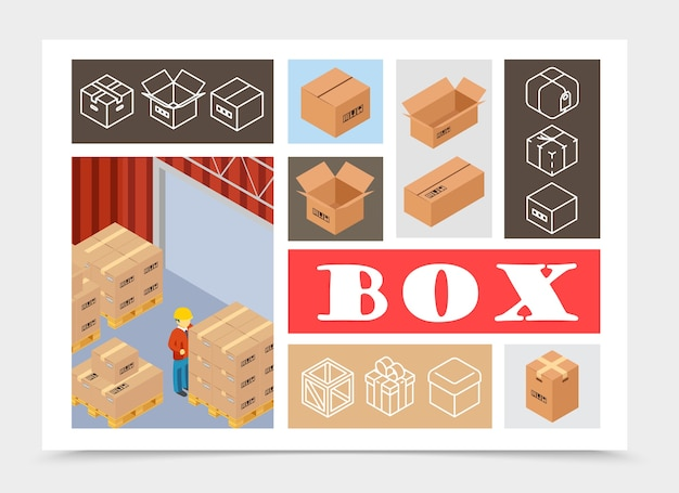 Isometric packaging colorful composition