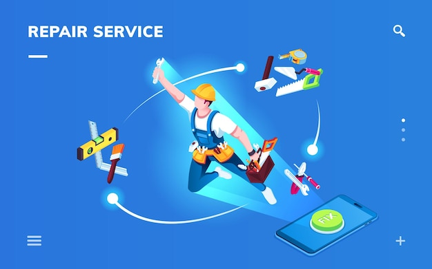 Isometric page for smartphone repair service application. worker for apartment renovation or foreman with tools for construction or home fixing.