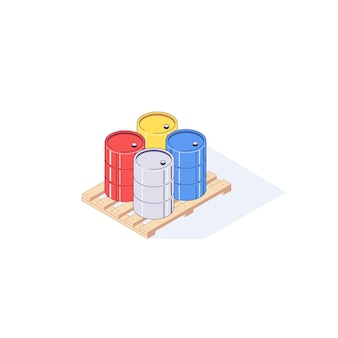 Isometric pallet with metal barrels illustration