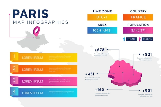 Isometric paris map infographics