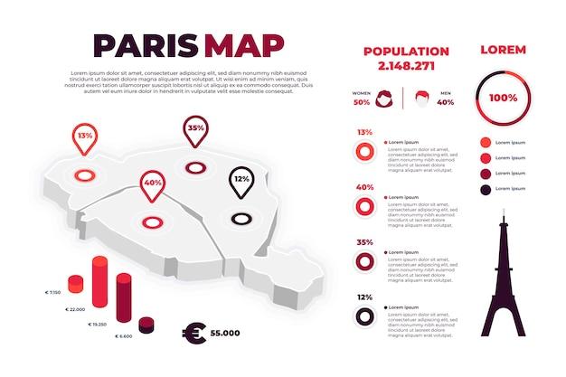Изометрические парижская карта инфографики