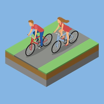 Isometric park activity riding bicycle