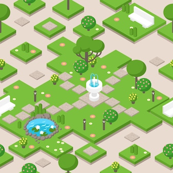 Isometric park composition with trees, fountain and bench