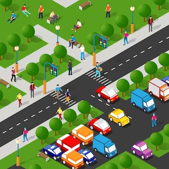 Isometric park with trees and people with benches lifestyle socializing in urban environment