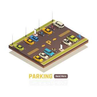 Isometric parking area banner template