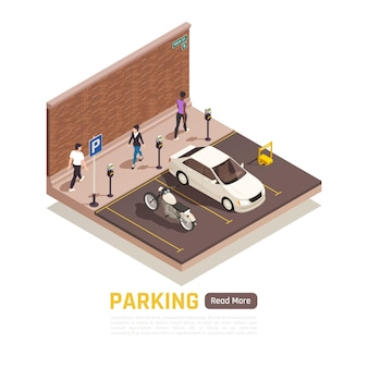 Изометрические парковки и люди, идущие баннер шаблон
