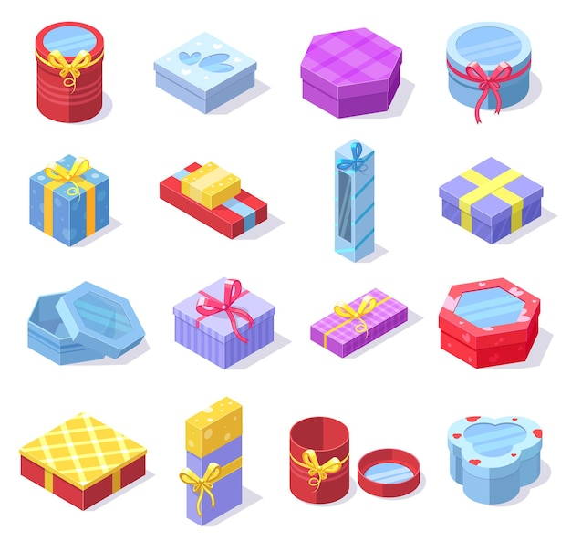 Isometric party celebration gift 3d cardboard boxes. holidays gift boxes with bows and ribbons isolated vector illustration set. festive colorful gift boxes
