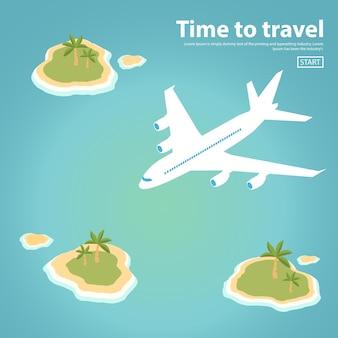야자수와 해변이 있는 아이소메트릭 여객기 열대 섬