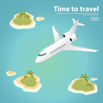 The isometric passenger private jet plane flying over tropical islands with palm trees and the ocean.
