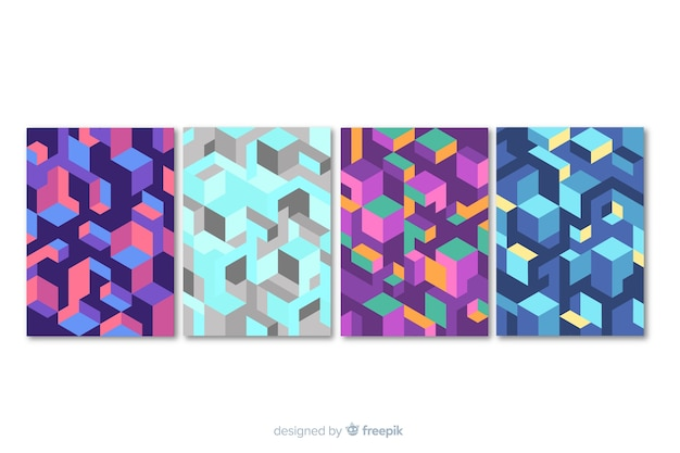 Isometric pattern brochure template collection