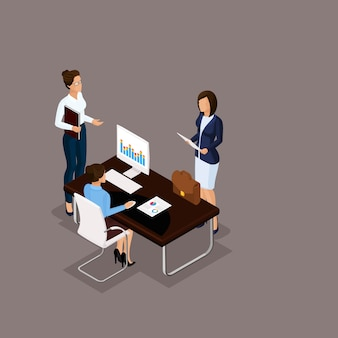 Isometric people 3d businessman. office employee discussion, problem-solving, in the director's office on a blue background