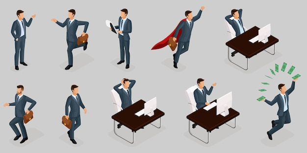 Isometric people, 3d entrepreneurs, different concept scenes, emotions and gestures businessman, superhero, management and production