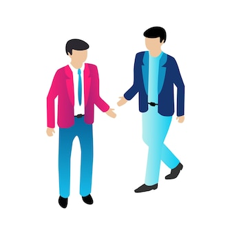 Isometric people business businessman trendy flat concept