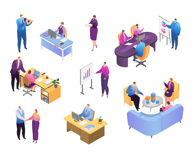 Isometric people in business office  illustration set, cartoon  businessman and businesswoman work icons  on white