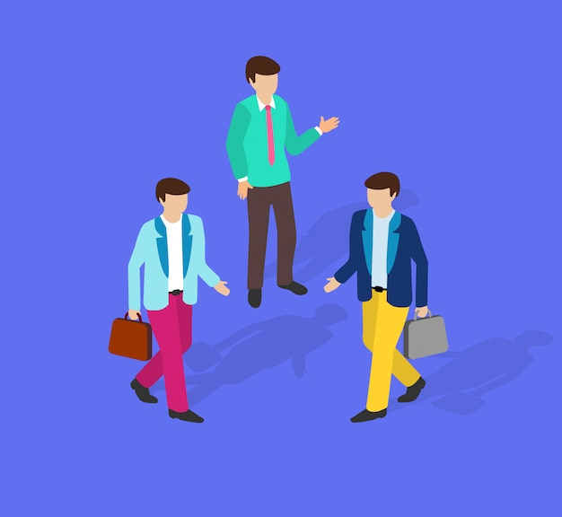 Isometric people business