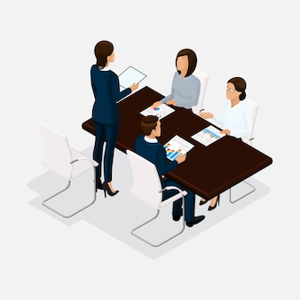 Isometric people, businessmen 3d business woman. discussion, negotiation concept work, brainstorming. director negotiating table isolated