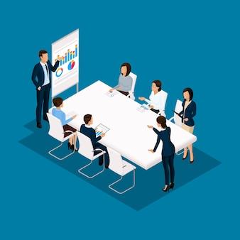 Изометрические люди, бизнесмены 3d бизнес женщина. обсуждение, согласование концепции работы, мозговой штурм. работа в офисе, офисные работники на синем фоне