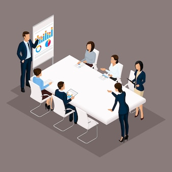 Isometric people, businessmen 3d business woman. education, business training, business discussion stategii. office workers on a dark background