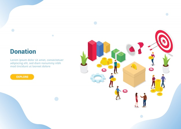 Isometric people donation concept for website template landing homepage