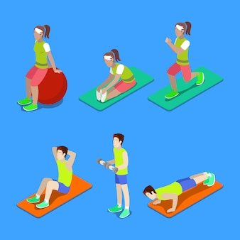 Isometric people exercising at the gym