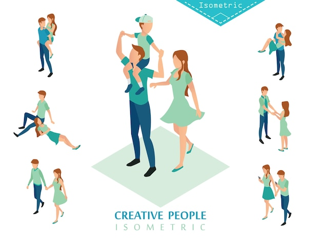 Isometric people family set a
