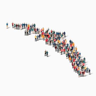 南ジョージアの地図を形成する等尺性の人々