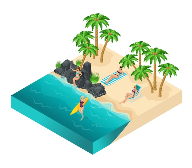 Isometric people of the girl, 3d tourists, girls rest on the beach of sefi on rocks, beach, sand, palms, rest, sunbathe, women in swimsuits, surfboard, girls in the water