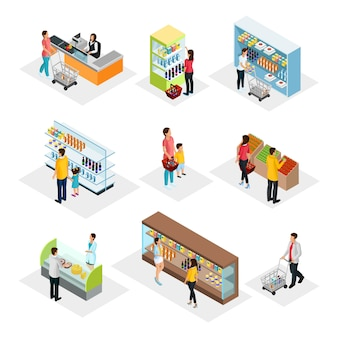 Isometric people in grocery shop set