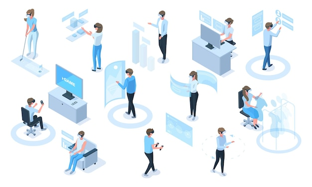 Isometric people in headsets use virtual reality simulators. characters in vr glasses playing, learning, working vector illustration set. virtual augmented reality activities