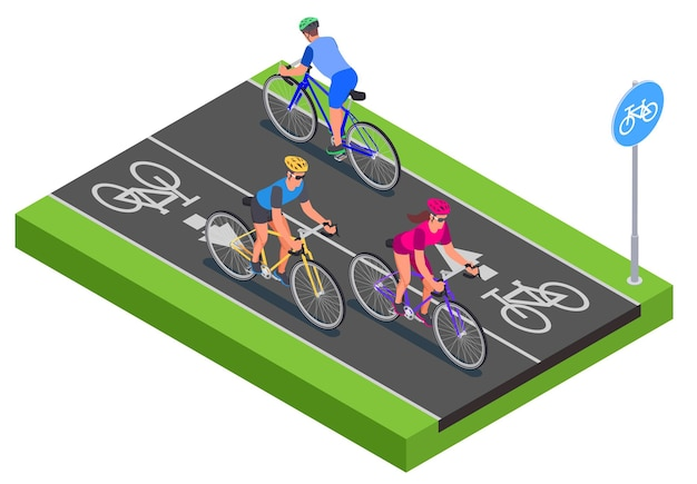 Isometric people in helmets cycling along bicycle lane 3d