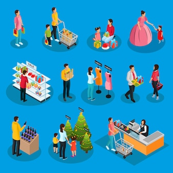 Isometric people on holiday shopping set with buying of food products gifts presents clothes drinks christmas trees isolated