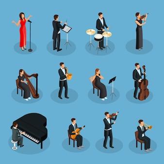 Изометрические люди в коллекции оркестра с дирижером, певцом и музыкантами, играющими на разных музыкальных инструментах, изолированные