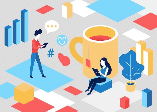 Изометрические люди в концепции коммуникации в социальных сетях