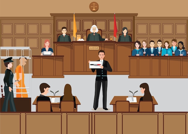 Isometric people judicial system set with judge