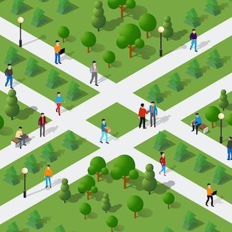 벤치와 나무가있는 공원의 도시 환경에서 아이소 메트릭 사람들의 라이프 스타일 커뮤니케이션