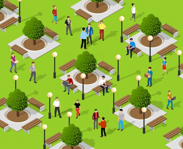 Isometric people lifestyle