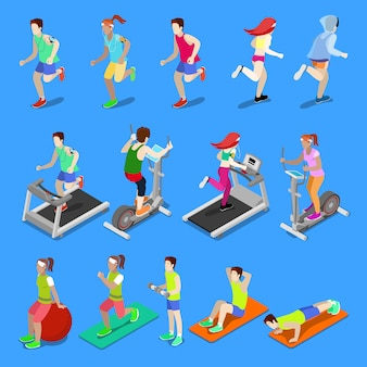 Isometric people. man and woman exercising at the gym.