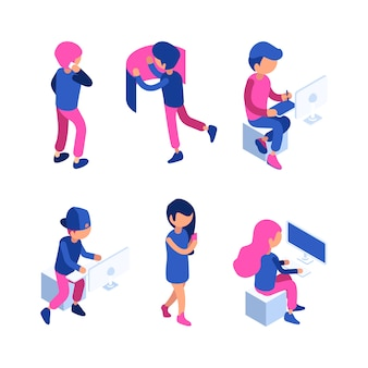 Isometric people. managers working workspace touching screen computer gadgets interactive interface dashboard website tablet s