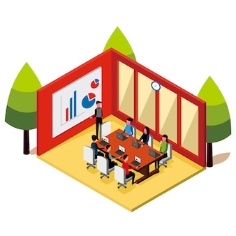 Isometric people meetings in the room