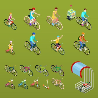 Изометрические люди на велосипедах. городской велосипед, семейный велосипед и детский велосипед.