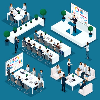 Изометрические люди человек, 3d бизнесмены, речь лидера по требованию, показатели и графики учебного процесса, коучинг, бизнес-конференция, молодые предприниматели