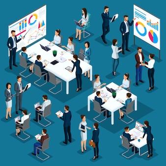 Изометрические люди человек, 3d коучинг, бизнес-тренер, бизнесмены, сотрудники компании, встреча, партнерство, концепция управления, бизнес-процессы, обучение