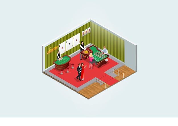 Изометрические люди играют в игры в развлекательном центре векторная иллюстрация