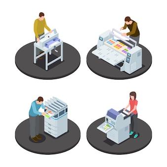 Isometric people printing set