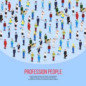 Isometric people professions